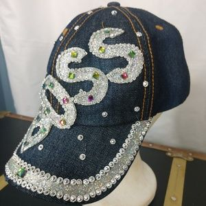 A jean BOSS blinged out  urban hat cap.